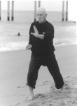 A practitioner of Tai Chi spending some time honing his skill at the beach.